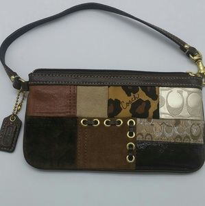 Women's Coach patchwork wristlet brown leather